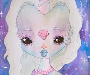 unicorn, girl, and galaxy image