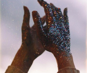 hands, glitter, and sky image