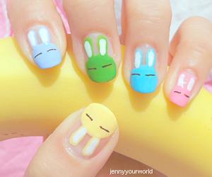 nails, bunny, and nail art image