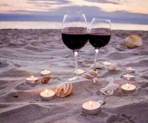 wine, beach, and sea image