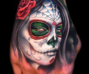 colour, sugar skull, and tattoo image
