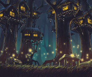 fireflies, tree, and fantasy image