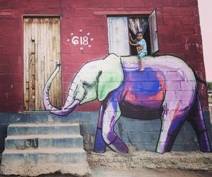 elephant, art, and child image