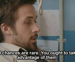 quote, second chances, and ryan gosling image