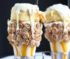 milkshake, sweet, and cinnamon roll image