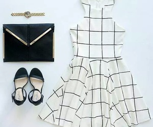 outfit, black and white, and dress image