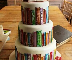 book, cake, and food image