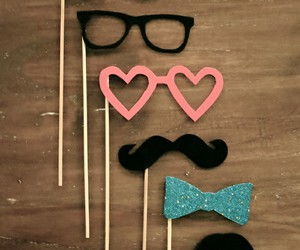 glasses, mustache, and moustache image