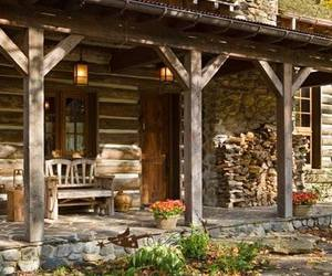 cabin, log cabin, and rustic image