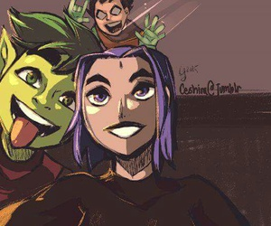 robin, raven, and teen titans image
