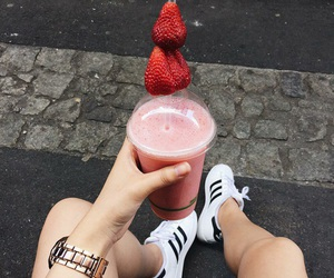 strawberry, drink, and adidas image