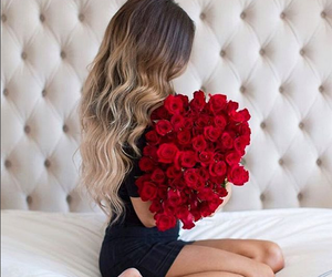 girl, hair, and rose image