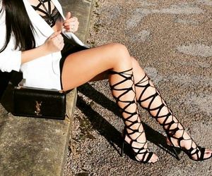 black and white, gladiator heels, and Yves Saint Laurent image