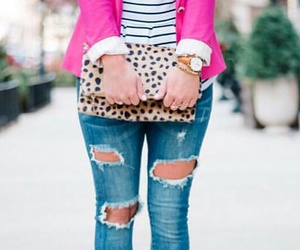 statement necklaces, blue ripped jeans, and cheetah flats image