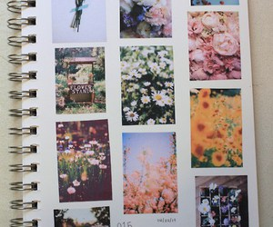 flowers, notebook, and vintage image