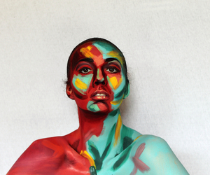 art, bodypainting, and colourful image