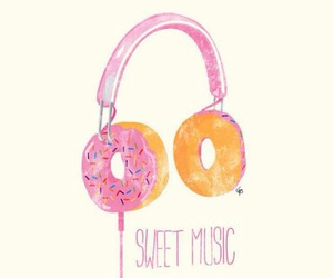 music, donuts, and sweet image