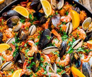 food, seafood, and paella image