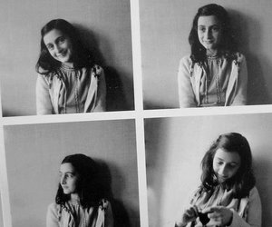 anne frank, black and white, and book image