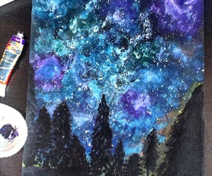 draws, galaxy, and night image