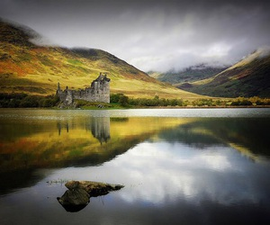castle, scotland, and lake image