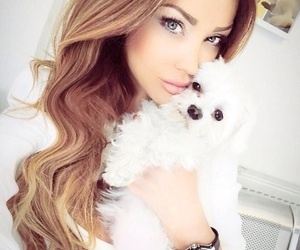 dog, girl, and beauty image
