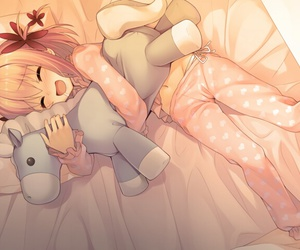 bed, cute, and cuddle image