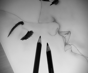 black&white, boy, and drawing image