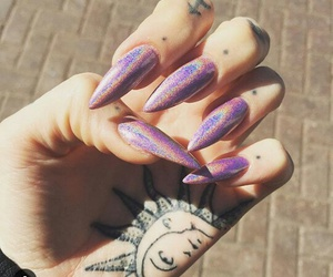 nails, tattoo, and hand image