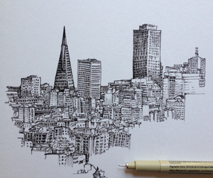 black, drawing, and city image