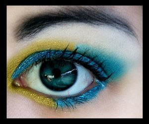 blue, make up, and yellow image