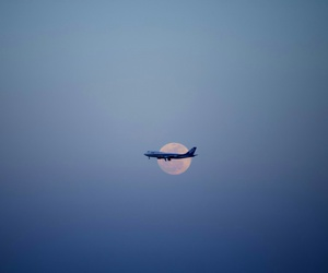 aeroplane, blue, and sky image