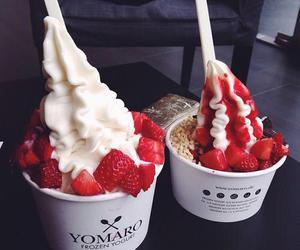 food, strawberry, and ice cream image