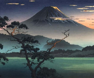 art, mountain, and japan image