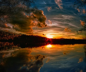 clouds, sunset, and lake image