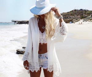 beach, white, and outfit image