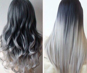 beautiful, black and grey, and curls image