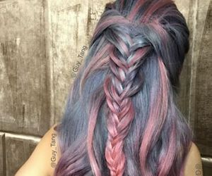 hair, colored hair, and pink image