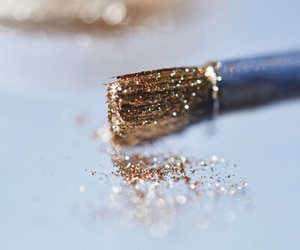 glitter, gold, and makeup image
