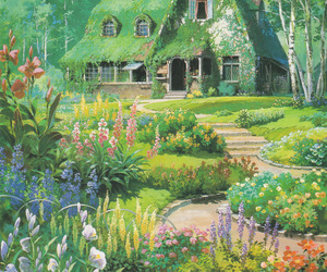 house, flowers, and studio ghibli image