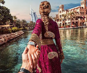 Dubai, couple, and travel image