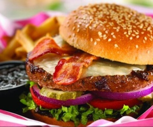 food, burger, and bacon image