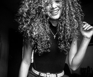 beautiful, black and white, and curly image