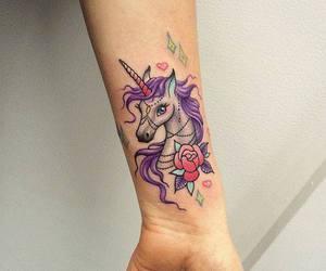 tattoo, unicorn, and color image