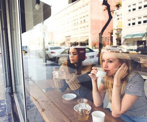 girl, coffee, and friends image