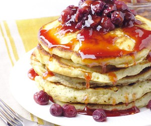 breakfast, grapes, and pancakes image