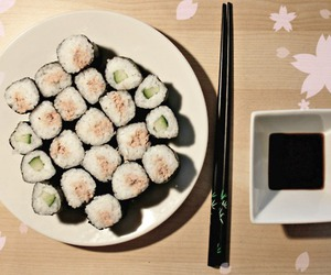 asian, sushi, and food image