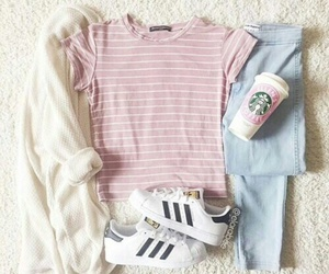 outfit, adidas, and pink image