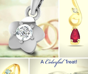 birthstone rings and floral diamond pendant image