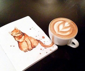coffee, art, and cat image